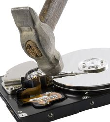 Free Computer Hard Disk Under Hammer Stock Image - 3949041