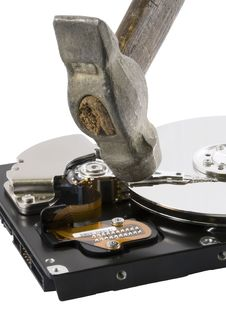 Free Computer Hard Disk Under Hammer Stock Image - 3949051