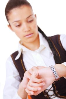 Young Businesswoman Looking On Her Watch Stock Photos