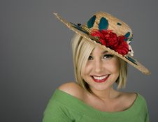 Free Blonde Smiling In Flowered Hat Royalty Free Stock Photos - 3951178
