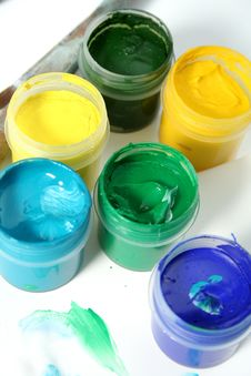 Free Jars With Multi-coloured Gouache Stock Image - 3952211