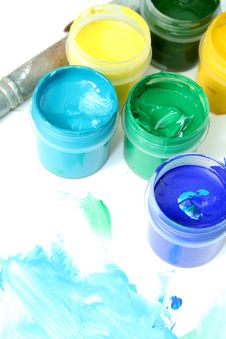 Free Jars With Multi-coloured Gouache Royalty Free Stock Photo - 3952265