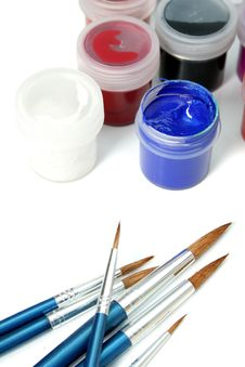 Set Of New Brushes And Gouache Paints Royalty Free Stock Photo