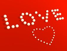 3D Heart From Pearls, On A Red Velvet Stock Image