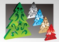 Vector 3d Christmas Tree Stock Images