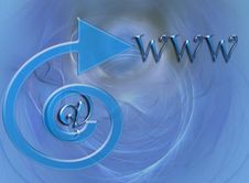 Free Blue Design With Arrow, @ And WWW Stock Image - 3958081