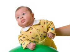 Free Baby On Ball For Massage Stock Image - 3958481