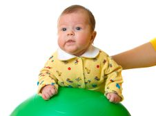 Free Baby On Ball For Massage Royalty Free Stock Image - 3958486
