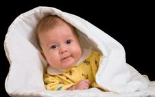 Free Baby In Blanket Over Black Royalty Free Stock Photos - 3958498