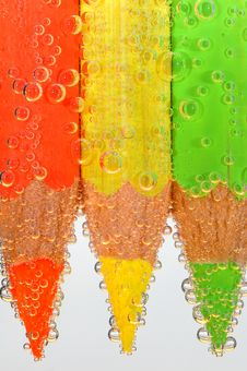 Free Colored Crayons With Bubbles Royalty Free Stock Photo - 3959165