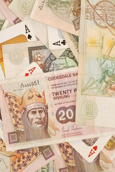 Free Scottish Money And 4 Aces Royalty Free Stock Images - 3961189