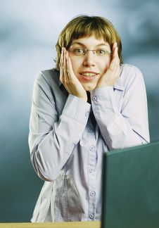 Miss In An Amazement Royalty Free Stock Photo