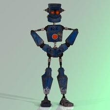Free Cartoon Robot With Expressive Emotion In His Face Stock Photography - 3961762