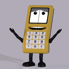 Cell Phone With Cute And Funny Emotional Face Stock Photo