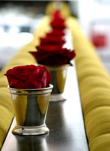 Roses In Sterling Silver Cups Royalty Free Stock Image