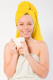 Free Portrait Smiling Girl & Coffee Royalty Free Stock Images - 3963329