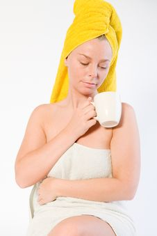 Free Portrait Girl With Coffee Tank Royalty Free Stock Image - 3963346