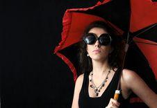 Free Girl And Umbrella Stock Image - 3963451