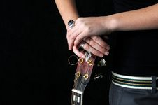 Free Girl And Guitar Stock Image - 3963621