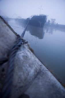 Ship In The Fog Stock Photos