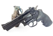 Revolver And Vintage Grenade On White Royalty Free Stock Photo