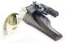 Free Revolver Shooting Money Royalty Free Stock Photography - 3966437