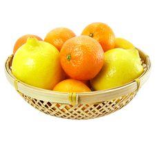 Mandarines And Lemons In The Bucket Stock Image