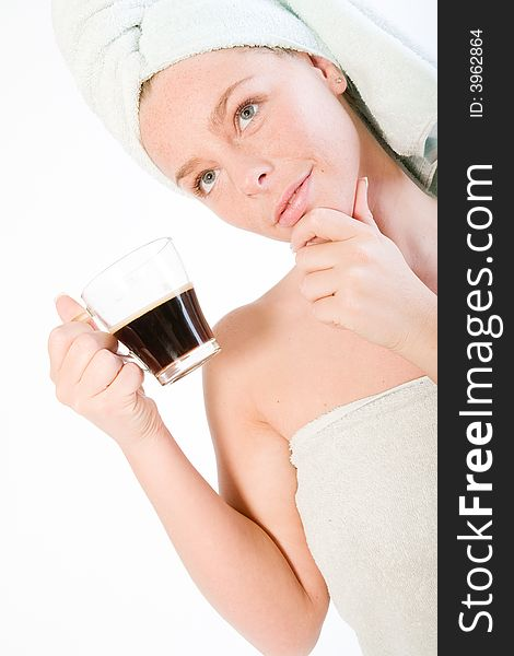 Wellness girl series coffee cup thinking