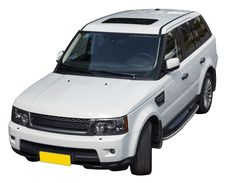 White SUV Isolate Royalty Free Stock Photo