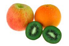 Apple, Mandarin And Kiwi Fruit Royalty Free Stock Photos