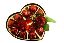 Candies With A Nice Red Rose Stock Photography