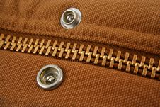 Large Gold Zipper Macro With Snaps Royalty Free Stock Images