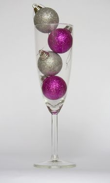 Free Baubles In A Champagne Glass Stock Image - 3973961