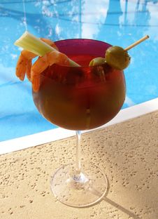 Bloody Mary Poolside Stock Images