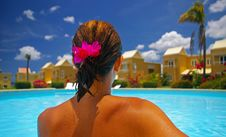 Free Woman Sitting By Edge Of Pool Stock Image - 3975111