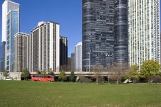 Free Red Bus On Lake Shore Drive, Chicago Stock Photos - 3976043