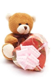 Free Classic Brown Teddy Bear With Heart-shaped Present Stock Photo - 3977960