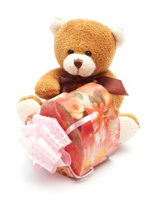Classic Brown Teddy Bear With Heart-shaped Present Royalty Free Stock Photo