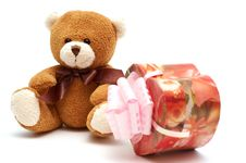 Free Classic Brown Teddy Bear With Heart-shaped Present Stock Images - 3978004