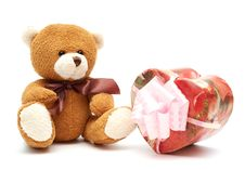 Free Classic Brown Teddy Bear With Heart-shaped Present Royalty Free Stock Image - 3978006