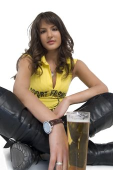 Free Pretty Girl Drinking Beer From The Glass Royalty Free Stock Photo - 3979305