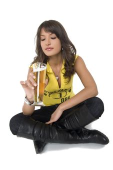 Free Pretty Girl Drinking Beer From The Glass Royalty Free Stock Photography - 3979327
