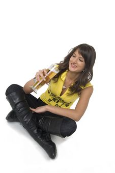 Free Pretty Girl Drinking Beer From The Glass Stock Photography - 3979332