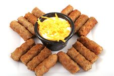 Free Sausages With A Cheese Dipping Sauce Royalty Free Stock Image - 3979666