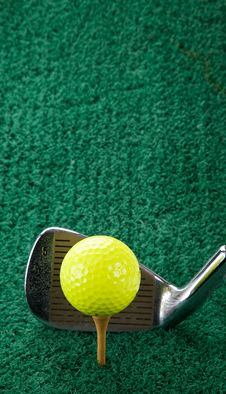 Golf Ball And Five Iron Royalty Free Stock Image