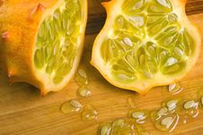 Free Juicy Horned Melon Halves Stock Photo - 3980400