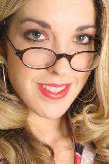 Beautiful Blonde In Glasses Upclose Royalty Free Stock Images