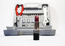Free Lipstick And Tools Royalty Free Stock Image - 3980976