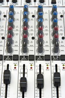 Faders And Knobs Of Sound Mixer Stock Photos