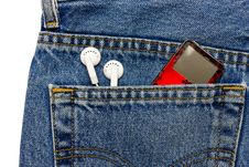 Free MP3 In Jeans Pocket Stock Image - 3982881